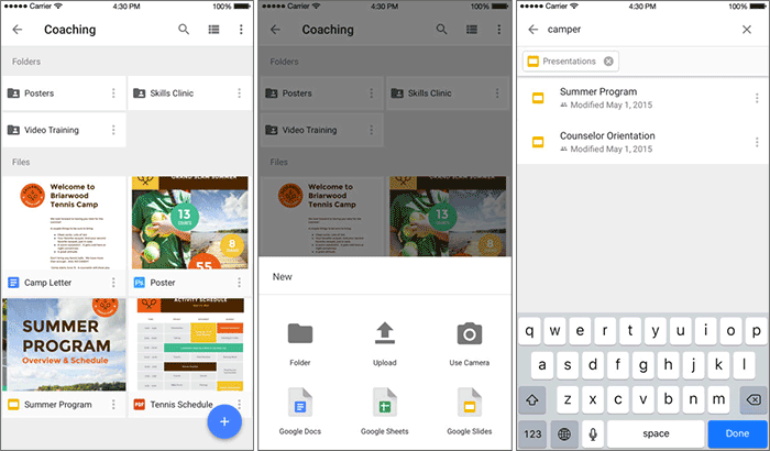 Скриншот приложения Google Drive для iPhone и iPad в облачном хранилище