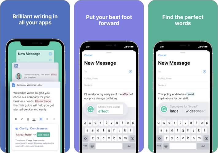 Скриншот приложения для грамматического ведения блогов