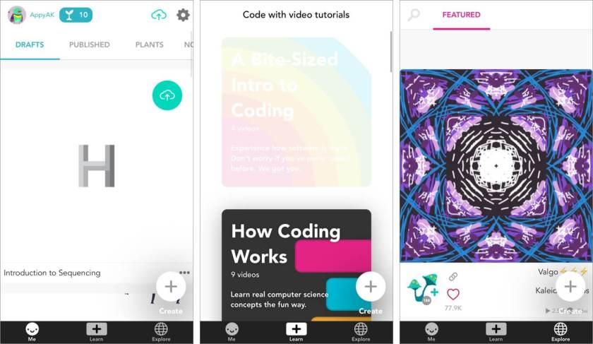 Обучение или сообщество в приложении Hopscotch для iPhone