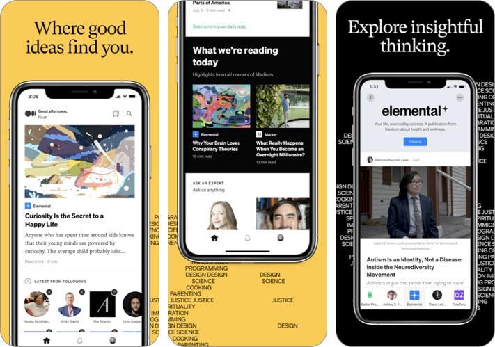 Скриншот среднего приложения для ведения блога