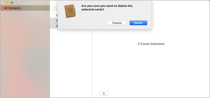 Нажмите кнопку «Удалить» на Mac, чтобы удалить несколько контактов с iPhone.