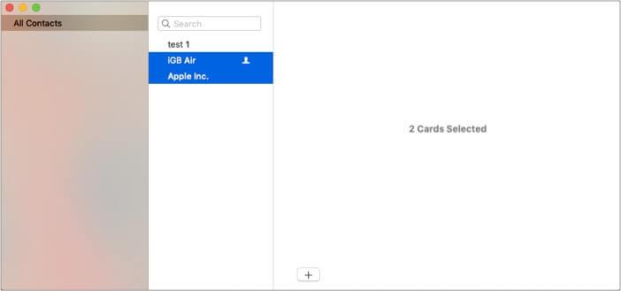 Выберите несколько контактов, нажав Shift и щелкнув по ним на Mac