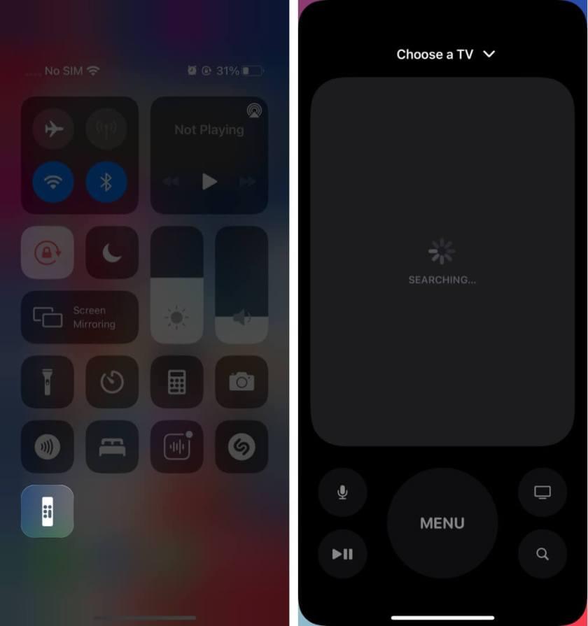 Настройте пульт Apple TV Remote в Центре управления на iOS