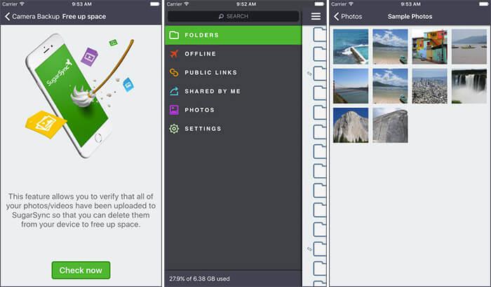 Скриншот приложения облачного хранилища SugarSync для iPhone и iPad