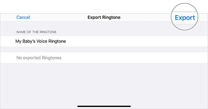 Нажмите Экспорт в рингтоне в приложении GarageBand, чтобы превратить голосовую заметку в рингтон.