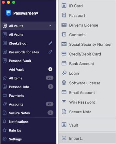 Хранилища для удобства в приложении Passwarden Mac