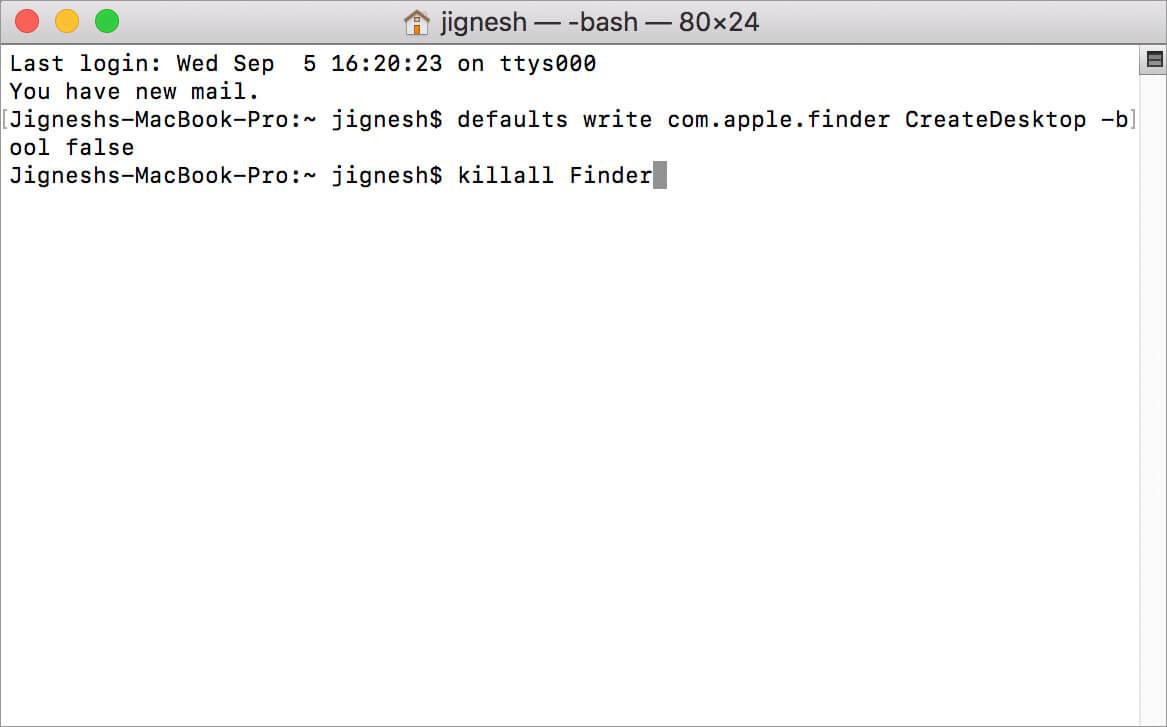 Введите вторую команду Hide в приложении Mac Terminal.