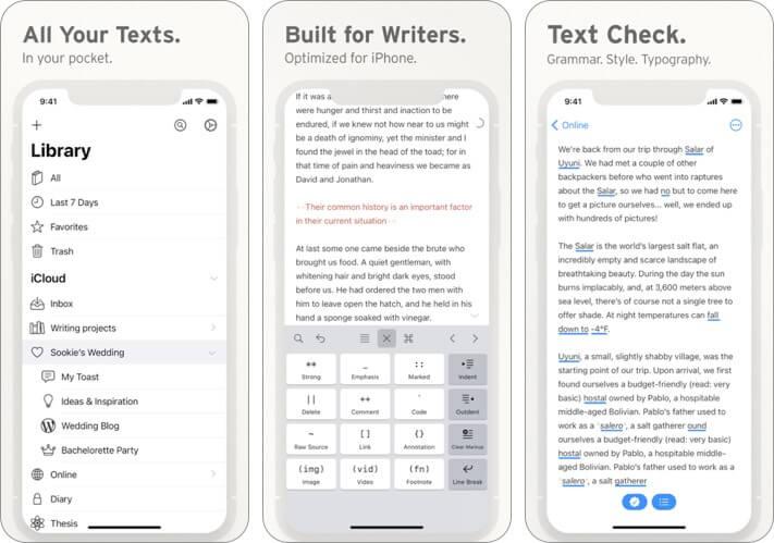 Скриншот приложения для блогов Ulysses