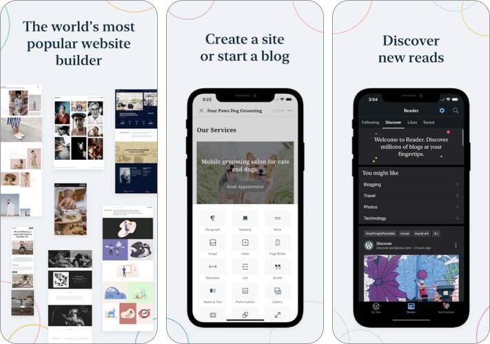 Скриншот приложения для ведения блога WordPress