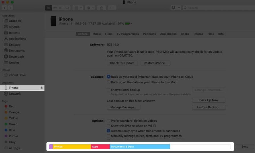 проверить документы iphone и хранилище данных на Mac