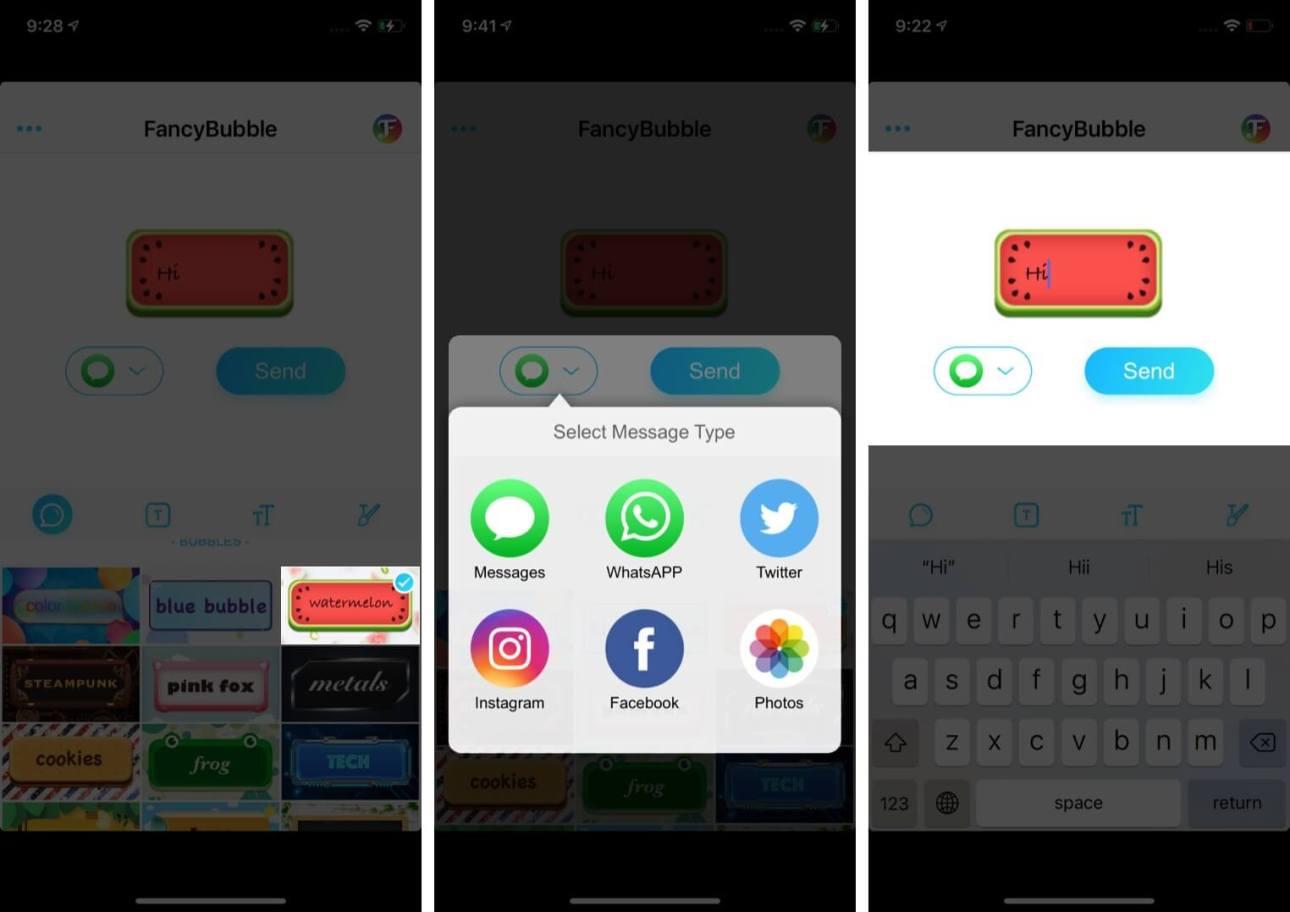 Выберите тему Выберите сообщение типа приложения и затем нажмите «Отправить» на iPhone.