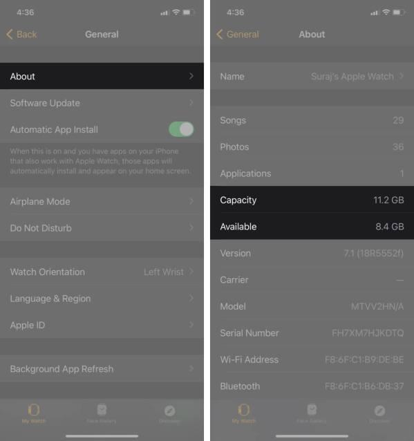 Нажмите, чтобы проверить хранилище Apple Watch в приложении для часов на iphone