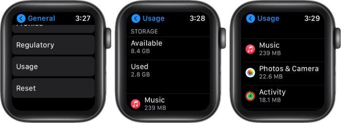 нажмите на использование, чтобы проверить хранилище на яблочных часах