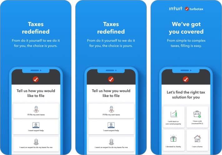 скриншот приложения для подоходного налога с iphone и ipad от turbotax