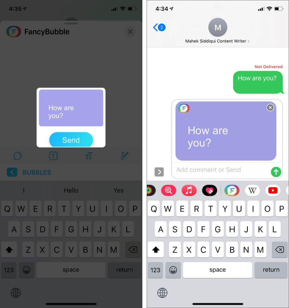 Введите сообщение и нажмите «Отправить» в приложении FancyBubble на iPhone.