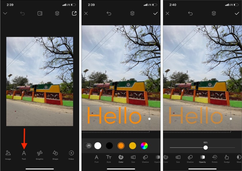 Используйте приложение Over, чтобы получить прозрачный текст для сообщения Snapchat