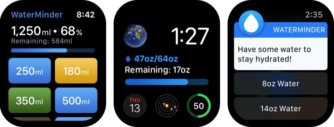 скриншот приложения для Apple Watch Waterminder
