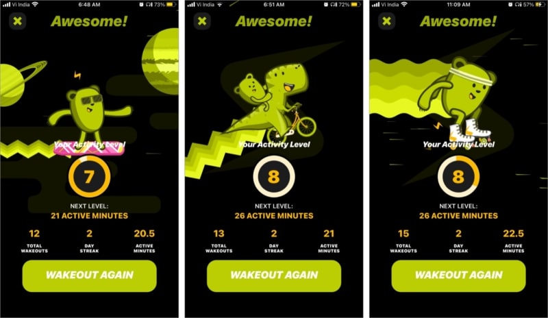 Уровни активности с анимацией в приложении Wakeout для iPhone