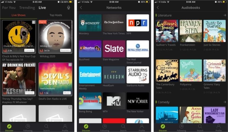 Функция прямой трансляции аудио в приложении Podbean Podcast