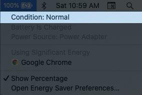 Состояние аккумулятора в macOS Catalina или более ранней версии