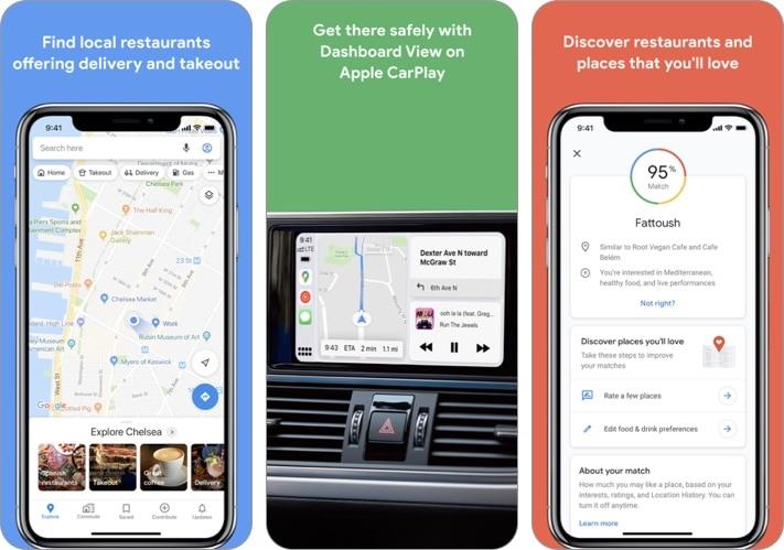 Скриншот приложения Google Maps для iPhone и iPad