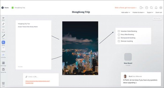 Программное обеспечение Milanote Mind Mapping для Mac