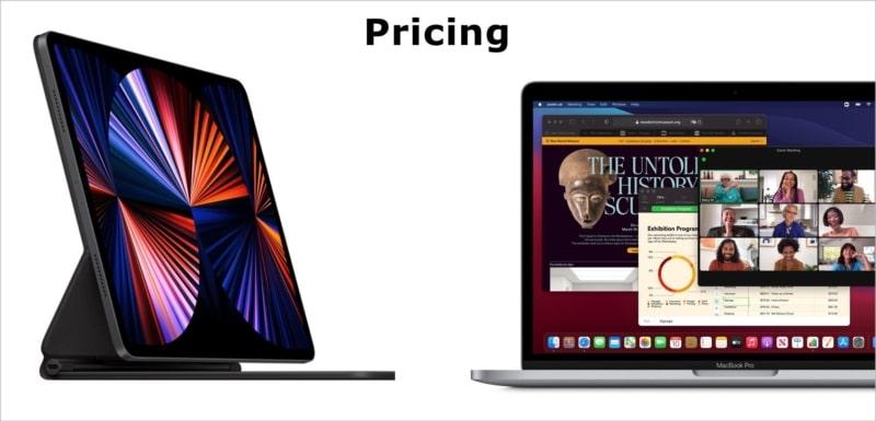 Цены - M1 iPad Pro против M1 MacBook Pro