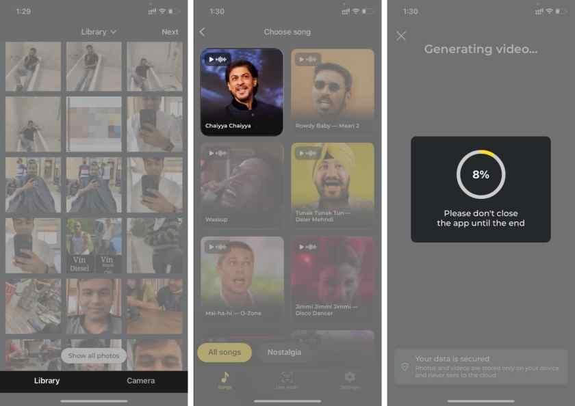 Выберите изображение из Librarfy и выберите песню из приложения Avatarify для iPhone.