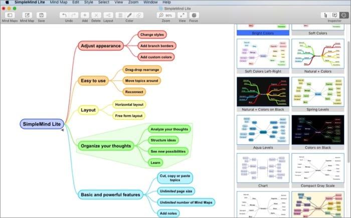 Программное обеспечение SimpleMind Lite для Mac