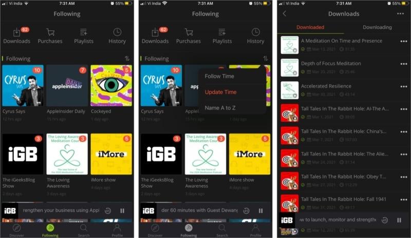 Следующая вкладка в приложении Podbean для iPhone и iPad
