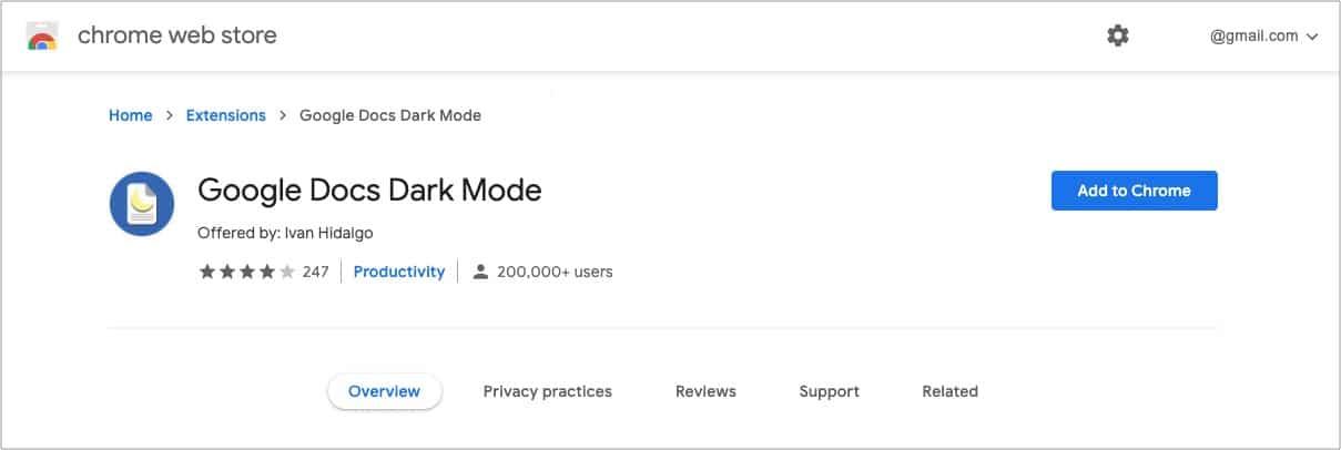 Добавить расширение Google Docs Dark Mode в Chrome