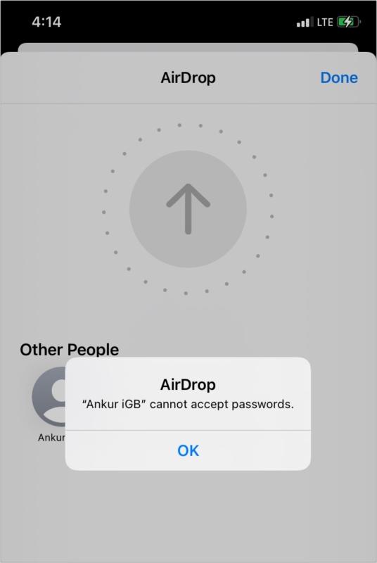 Ошибка не может принять пароли