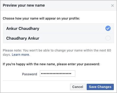 Внимательно проверьте и нажмите «Сохранить изменения», чтобы получить новое имя в Facebook.