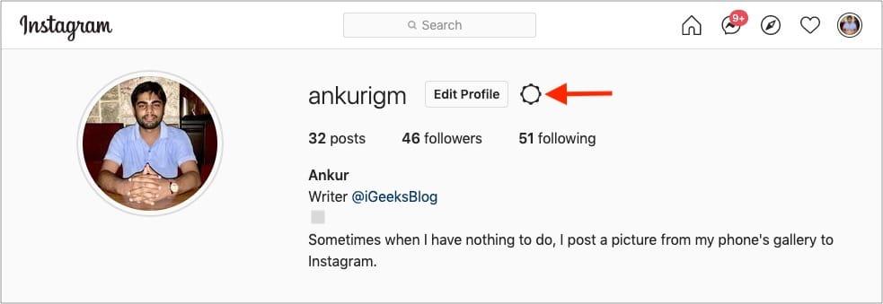 Нажмите на значок шестеренки рядом с редактированием профиля в сети Instagram.