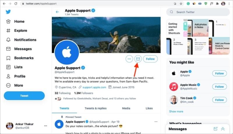 Wenden Sie sich an den Apple Support, indem Sie Twitter DM senden