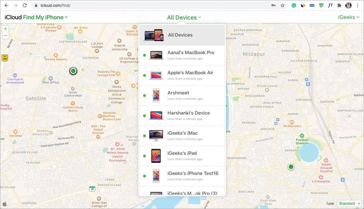 Klicken Sie in iCloud auf Alle Geräte und wählen Sie Ihr gesperrtes iPhone aus
