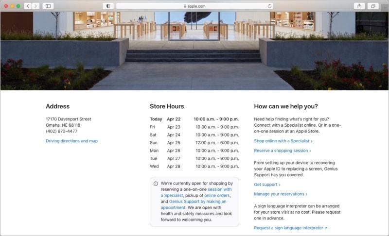 Siehe Apple Store-Adresse, Telefonnummer, Wegbeschreibung, Öffnungszeiten und mehr