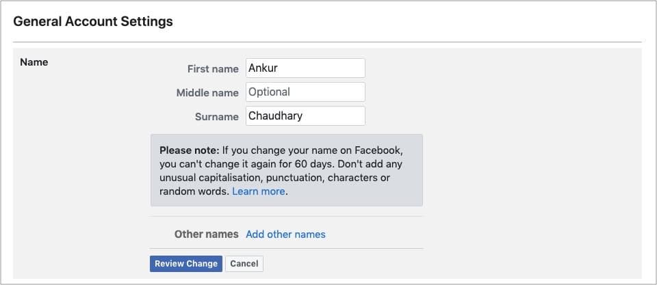 Введите новое имя и нажмите Просмотреть изменение.