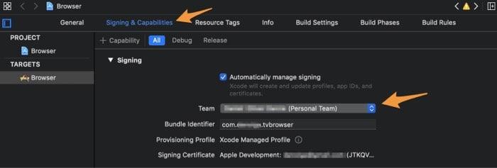 Измените команду на личную команду в Xcode на Mac