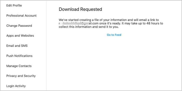 Instagram-Datendownload zum Wiederherstellen von Nachrichten angefordert