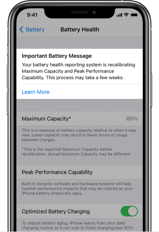 После успешной повторной калибровки аккумулятора iPhone
