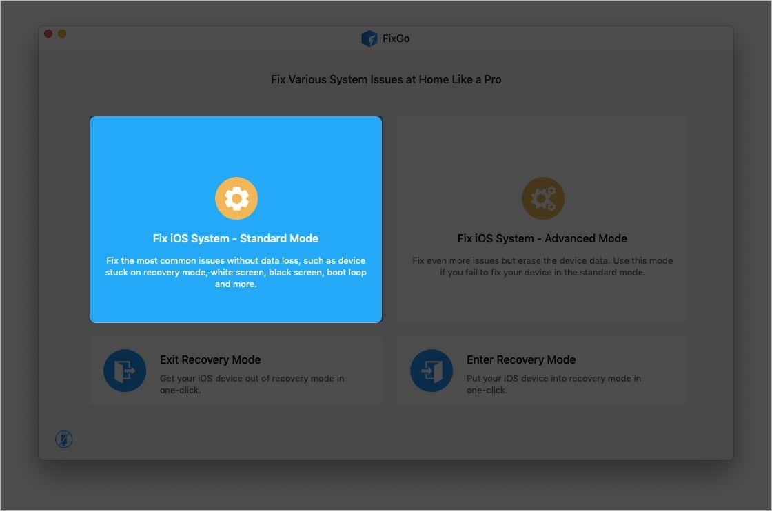 Нажмите Исправить стандартный режим системы iOS.