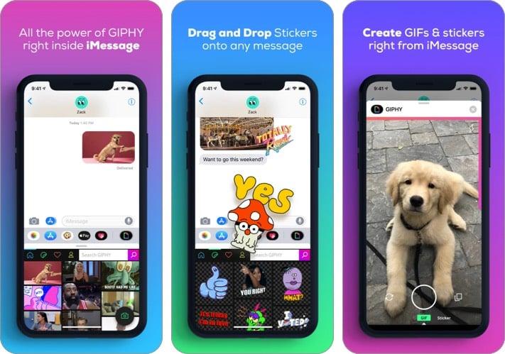 Скриншот приложения GIPHY iMessage