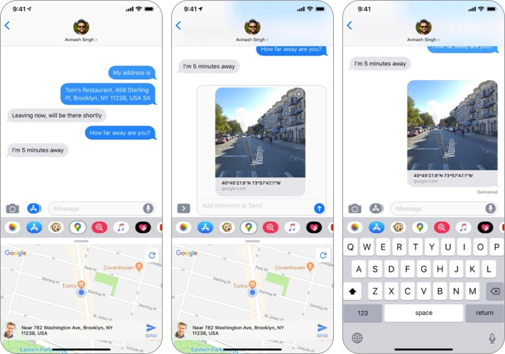 Снимок экрана приложения Google Maps iMessage