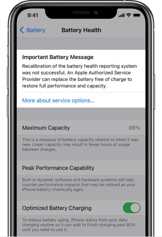 Если перекалибровка батареи iPhone не удалась
