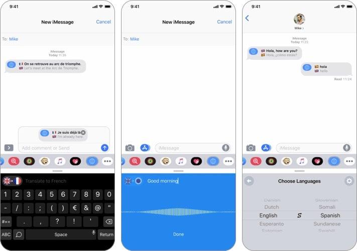 Скриншот приложения iTranslate iMessage