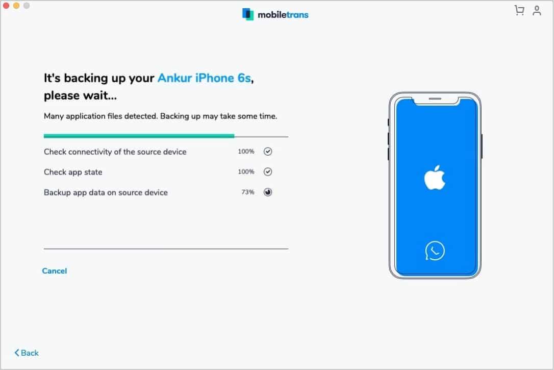WhatsApp Backup в действии с помощью MobileTrans
