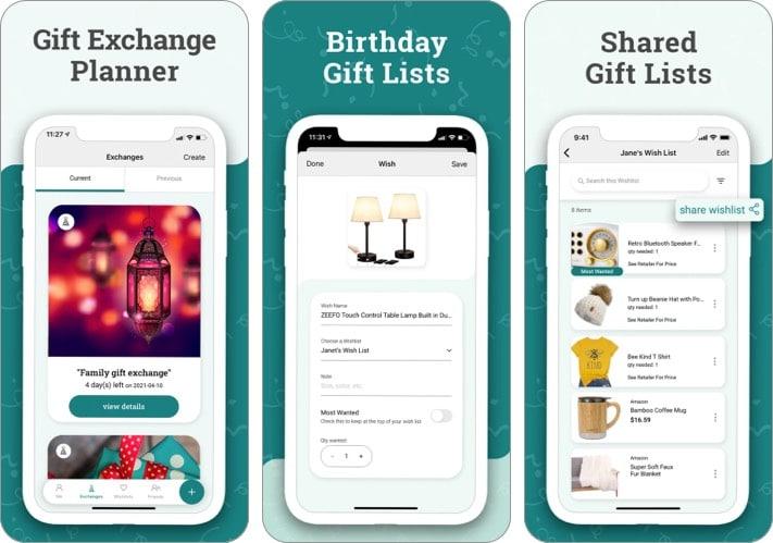 Скриншот приложения Elfster для планирования подарков для iPhone