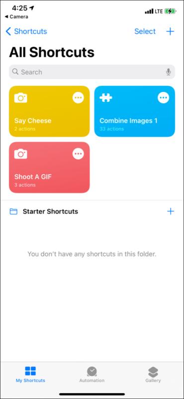 Ярлыки перечислены в разделе «Мои ярлыки» на iPhone.