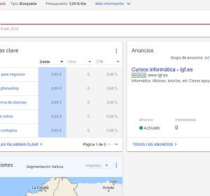 Curso de Google Adwords en el Instituto Galego de Formación